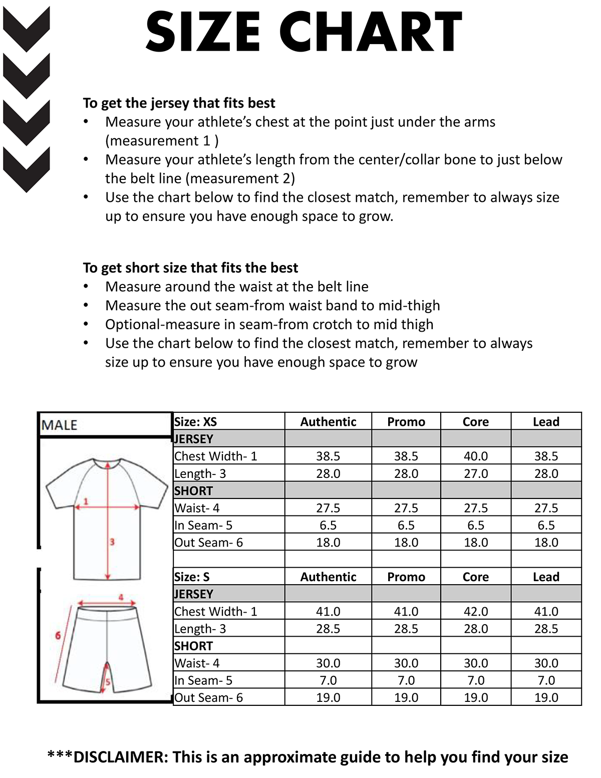 Size Guide Page One